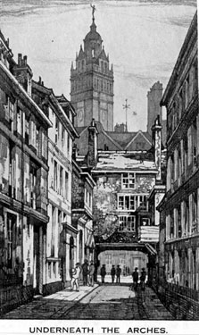 Cadman Lane by Kenneth Steel looking towards the Town Hall and Norfolk Street, 1890-1910