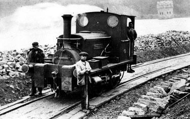 Steam Locomotive 'Kitchener' with Mr. Lloyd used in construction of Derwent Valley waterworks