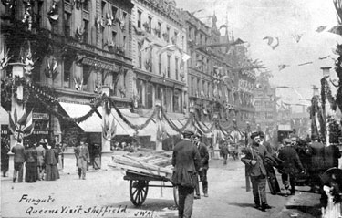 Fargate, decorated for visit of Queen Victoria, shops include No 16-30, Robert Proctor and Son, Drapers and Cole Brothers Department Store