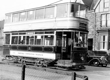 Electric Tram No. 430, destroyed in the Blitz, 12/13 December, 1940, Abbey Lane