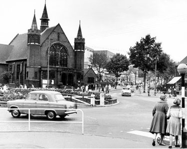Firth Park Roundabout looking up Sicey Avenue showing Firth Park United Methodist Church