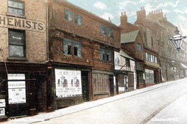 Snig Hill from West Bar, derelict timber framed shops, prior to demolition in 1900