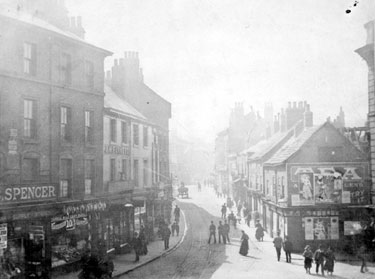 Nos. 5, Spencer Brothers, grocers, 7 J. M.Furness, chemist etc., (left) and Nos. 10, tea dealers, 12 etc. (right) West Bar from the junction with Coulston Street