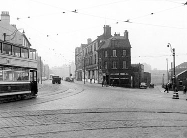 No. 18, 20, 22/26 Blue Boar  P. H. (centre), West Bar  and junction with Spring Street and Coulston Street
