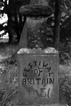 Festival of Britain 1951 commemorative stone, Grenoside Hospital Annexe (former Isolation Hospital) Saltbox Lane