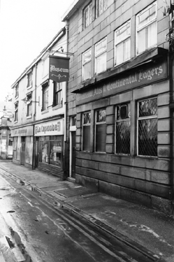 Nos. 25; Museum P.H.; 23, La Capannina Restaurant; 21, former Sheffield Raincoat Stores, Orchard Street looking towards Orchard Place