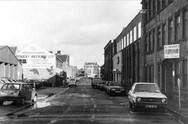 Sidney Street looking towards Matilda Street showing Thos A Ashton Ltd., engineers, Speedwell Works right and No. 72, Robert Beckett Ltd., precision engineers