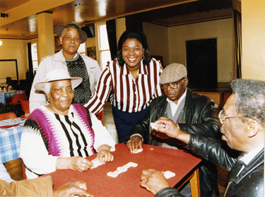 Game of dominos at the launch of the third phase of an appeal to complete a Day Care Service for the Elderly and Disabled People, African Caribbean Enterprise Centre, Wicker