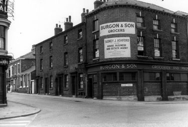 Moore Street at junction of Hanover Street, from Ecclesall Road, No 152, Moore Street, Burgon and Son Ltd., Grocers