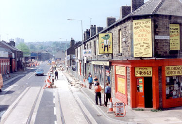 Holme Lane at juction of Oakland Road during the construction of Supertram