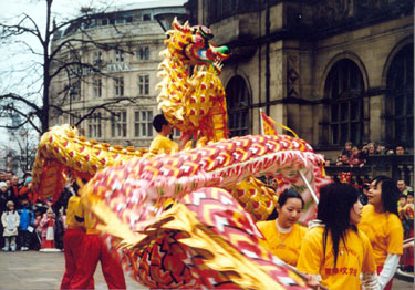 Dragon Dancers outside the Town Hall during the Chinese New Year Celebrations