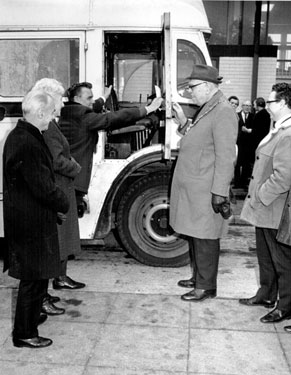 Handing over the old Mobile Library Reg. No. MWA 756 to purchaser by Lord Mayor Ald. Sidney Dyson also pictured Councillor Enid Hattersley and John Bebbington, City Librarian (extreme left)