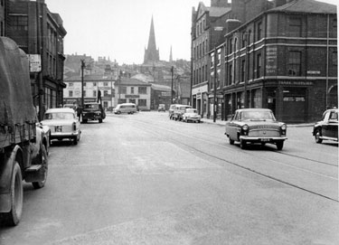 Nos. 121/5 Sheffield Hosiery Company Ltd., wholesalers, West Bar at  the junction with Lambert Street looking towards West Bar Green and Mosely's  Arms with the Cathedral Spire in the background