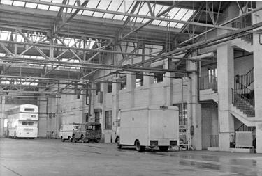 Interior of Sheffield Transport Depot, Tenter Street, mid 1960's