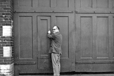 Locking up for the last time, Sheffield Transport Depot, Tenter Street, mid 1960's