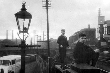Boys on railway line, Brightside Station