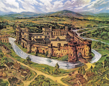 Oil painting by Kenneth Steel of Sheffield Castle as imagined from historical records