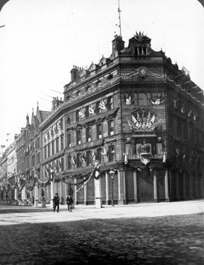 Cole Brothers decorated for the royal visit of Queen Victoria, Fargate at junction of Church Street