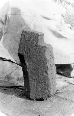 Sheffield Castle excavations recorded by J.B. Himsworth. possibly a 13th. century stone door jamb
