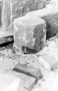 Sheffield Castle excavations recorded by J.B. Himsworth. piece of mullion