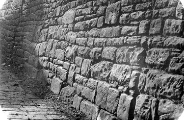 Sheffield Castle excavations recorded by J.B. Himsworth. Remains of shallow vaulted brick basements, near Castle Folds Lane