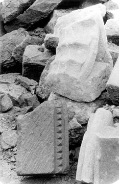 Sheffield Castle excavations recorded by J.B. Himsworth. Pieces of moulding, beautifully worked in coarse yellow sandstone