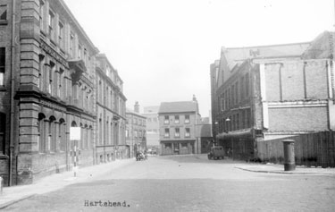 Hartshead, Nos 5 (Hartshead Chambers) and 7 (Montgomery Chambers), left, and rear of Telegraph  Offices, right. Dove and Rainbow P.H., in background