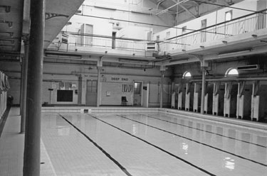 Deep end and changing cubicles at Attercliffe Road Swimming Baths, Nos. 870 - 872 Attercliffe Road