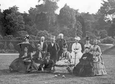 Croquet at Kenwood Park, Kenwood Road with George Wostenholm, wife Eliza sitting on his right and her sister Miss Randle standing on his left