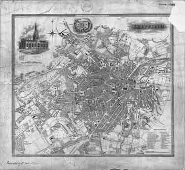 Plan of Sheffield, published with W White's History and Directory of Yorkshire