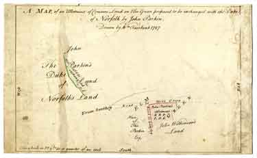 A map of an allotment on Elm Green proposed to be exchanged with the Duke of Norfolk by John Parkin