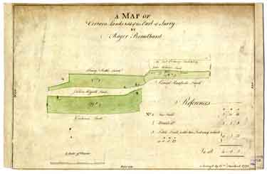 Map of certain lands held of the Earl of Surrey by Roger Broadhurst [fields in the area of Shalesmoor/Allen Street/Watery Lane/Watery Street/Mill Sands]