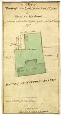 A plan of two houses and a yard held of the Earl of Surrey by Thomas Newbould, containing in the whole 210 square yards