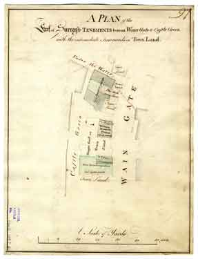 A plan of the Earl of Surrey's tenements betwixt Wain Gate [Waingate] and Castle Green with the intermediate tenements on town land, [c. 1778-1788]