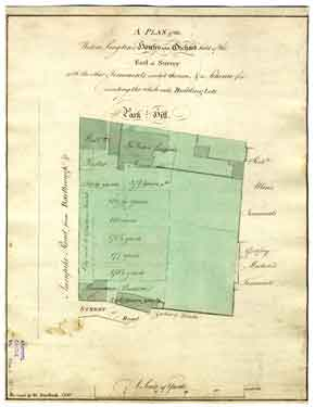 A plan of the Widow Longden's Houses and Orchard held of the Earl of Surrey with the other Tenements erected thereon, and a Scheme for dividing the whole into Building Lots