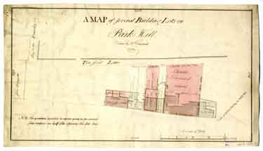 A map of several building lots on Park Hill [Broad Street]