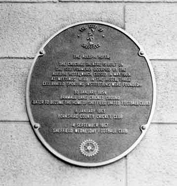 City of Sheffield commemorative plaque on the Crucible Theatre, No. 55 Norfolk Street