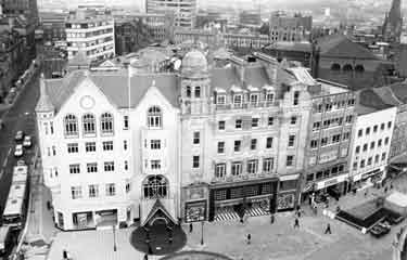 Orchard Square Shopping Centre with Leopold Street (left) and Fargate (foreground) showing Dixons, photographic equipment, audio visual and electronics store (No.58); Ravel, shoe shop and Dolcis, shoe shop