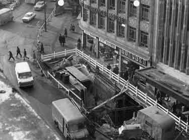 Construction of Castle Square showing (top left) High Street, (centre) Market Place shops, No.19 Eve Brown, costumier, No,21 William Timpson Ltd., shoe shop and (top) Yorkshire Insurance House