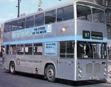 South Yorkshire Transport double decker bus No.271 painted silver for the Queen Elizabeth II Silver Jubilee with an advertisement for Debenham's department store