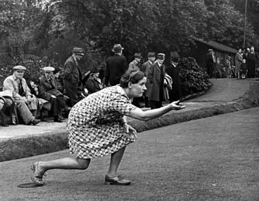 World War Two, Holidays at Home - bowling at the middle green, Hillsborough Park