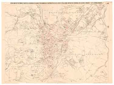 Map of the Town of Sheffield with the licensed public houses, beer shops, grocers and other licenses, marked thereon