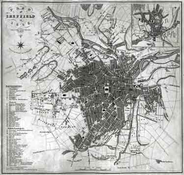 A Plan of Sheffield in 1823 (with Ralph Gosling's map of Sheffield in 1736 in top right hand corner)