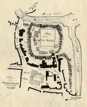 Plan of Sheffield Castle about 1700 drawn in the 1930s