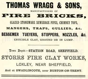 Advertisement for Thomas Wragg and Sons, fire brick manufacturers, Storrs Fire Clay Works, Loxley