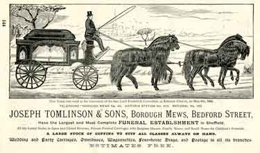 Advertisement for Joseph Tomlinson and Sons, funeral directors, Borough Mews, Bedford Street