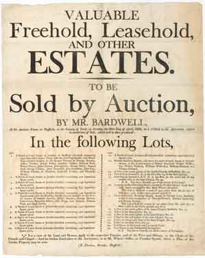 Bill announcing the sale by auction of freehold and leasehold property at Jericho