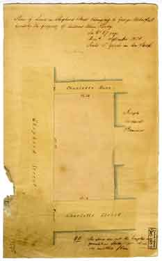 Plan of land in Shepherd Street belonging to George Waterfall formerly the property of Andrew Allen Hardy