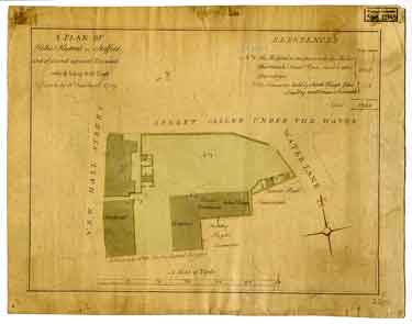 A plan of Hollis's Hospital in Sheffield and several adjacent tenements which belong to the Trust