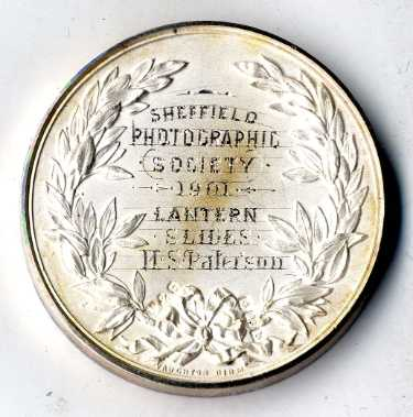 Sheffield Photographic Society silver medallion presented to H. S. Paterson for lantern slides